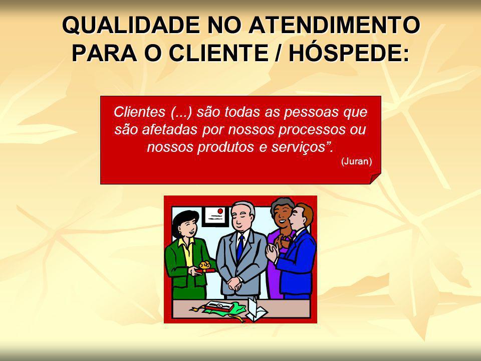 QUALIDADE NO ATENDIMENTO PARA O CLIENTE / HÓSPEDE: Clientes (...) são todas as pessoas que são afetadas por nossos processos ou nossos produtos e serv