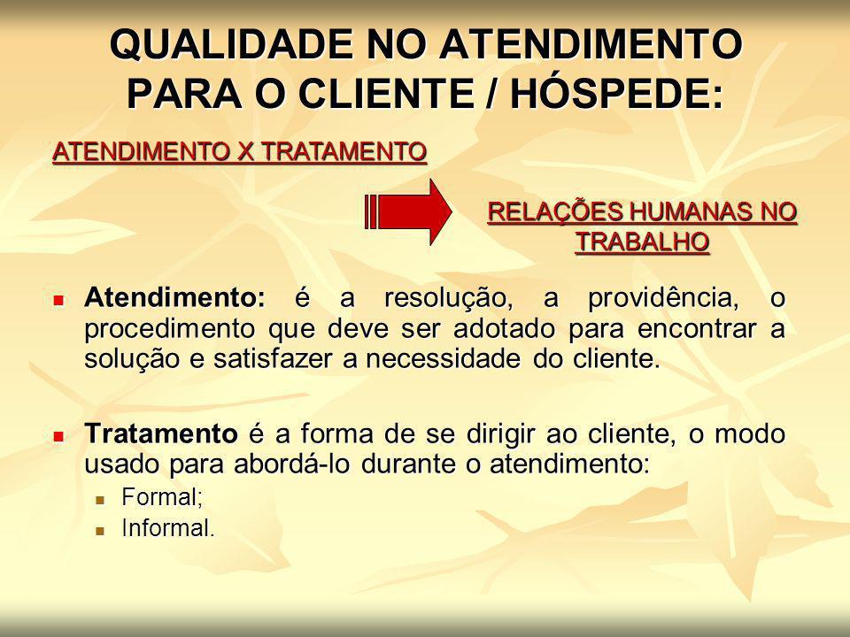 QUALIDADE NO ATENDIMENTO PARA O CLIENTE / HÓSPEDE: ATENDIMENTO X TRATAMENTO RELAÇÕES HUMANAS NO TRABALHO Atendimento: é a resolução, a providência, o
