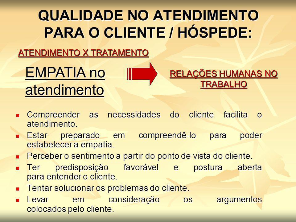 QUALIDADE NO ATENDIMENTO PARA O CLIENTE / HÓSPEDE: ATENDIMENTO X TRATAMENTO RELAÇÕES HUMANAS NO TRABALHO EMPATIA no atendimento Compreender as necessi