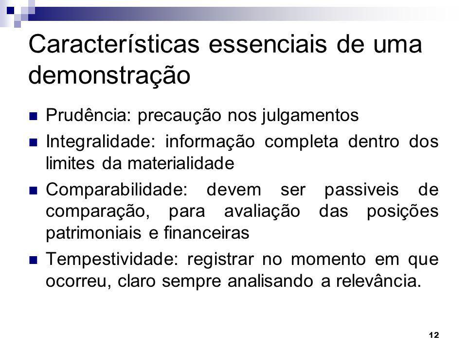 12 Características essenciais de uma demonstração Prudência: precaução nos julgamentos Integralidade: informação completa dentro dos limites da materi