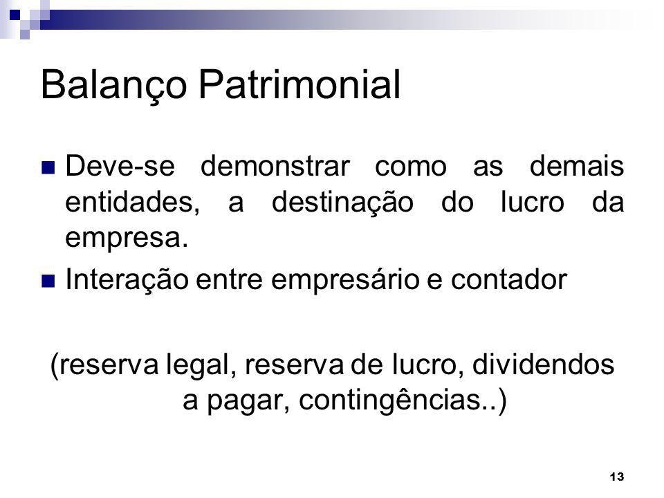 13 Balanço Patrimonial Deve-se demonstrar como as demais entidades, a destinação do lucro da empresa. Interação entre empresário e contador (reserva l