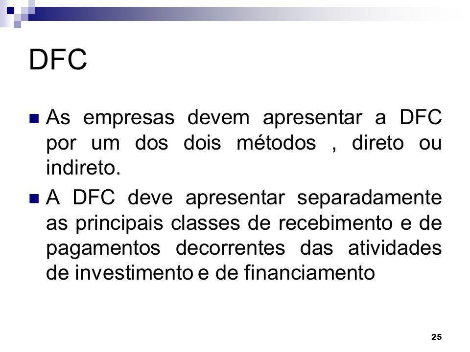 25 DFC As empresas devem apresentar a DFC por um dos dois métodos, direto ou indireto. A DFC deve apresentar separadamente as principais classes de re