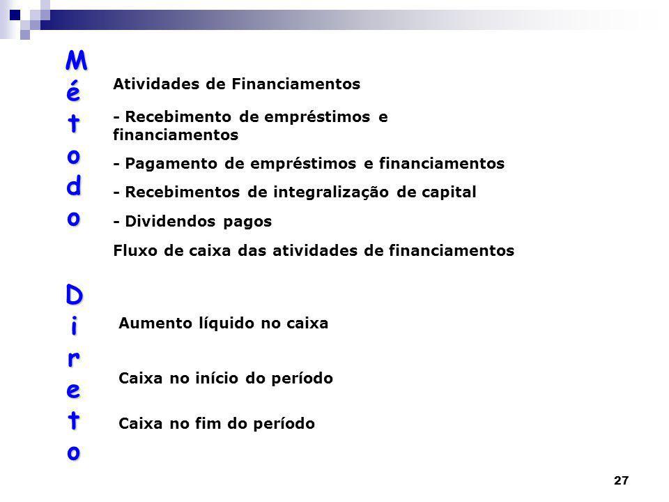 27 Atividades de Financiamentos - Recebimento de empréstimos e financiamentos - Pagamento de empréstimos e financiamentos - Recebimentos de integralização de capital - Dividendos pagos Fluxo de caixa das atividades de financiamentos Aumento líquido no caixa Caixa no início do período Caixa no fim do período MétodoMétodo Direto DiretoMétodoMétodo Direto Direto