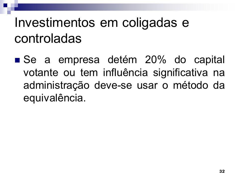 32 Investimentos em coligadas e controladas Se a empresa detém 20% do capital votante ou tem influência significativa na administração deve-se usar o método da equivalência.