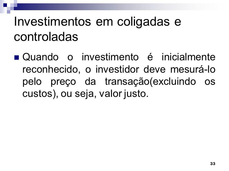 33 Investimentos em coligadas e controladas Quando o investimento é inicialmente reconhecido, o investidor deve mesurá-lo pelo preço da transação(excluindo os custos), ou seja, valor justo.