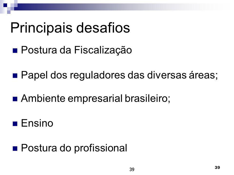 39 Principais desafios Postura da Fiscalização Papel dos reguladores das diversas áreas; Ambiente empresarial brasileiro; Ensino Postura do profission