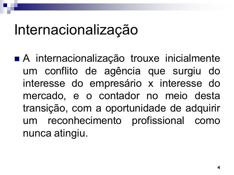 4 Internacionalização A internacionalização trouxe inicialmente um conflito de agência que surgiu do interesse do empresário x interesse do mercado, e o contador no meio desta transição, com a oportunidade de adquirir um reconhecimento profissional como nunca atingiu.