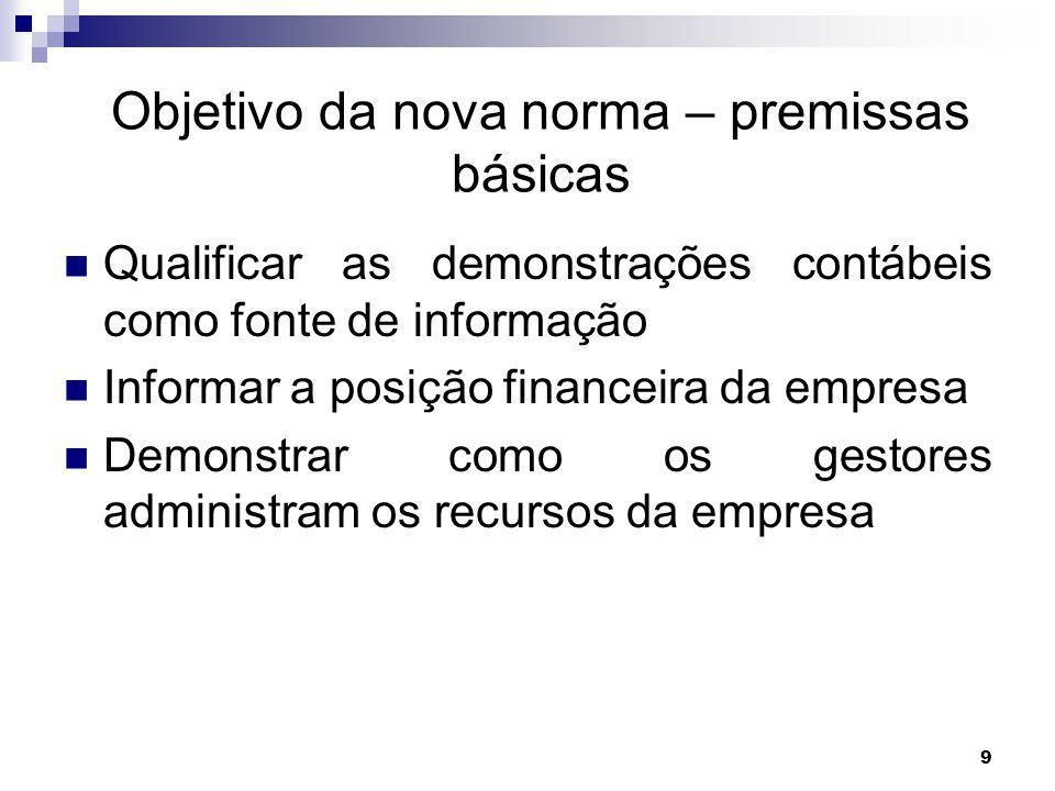 9 Objetivo da nova norma – premissas básicas Qualificar as demonstrações contábeis como fonte de informação Informar a posição financeira da empresa Demonstrar como os gestores administram os recursos da empresa