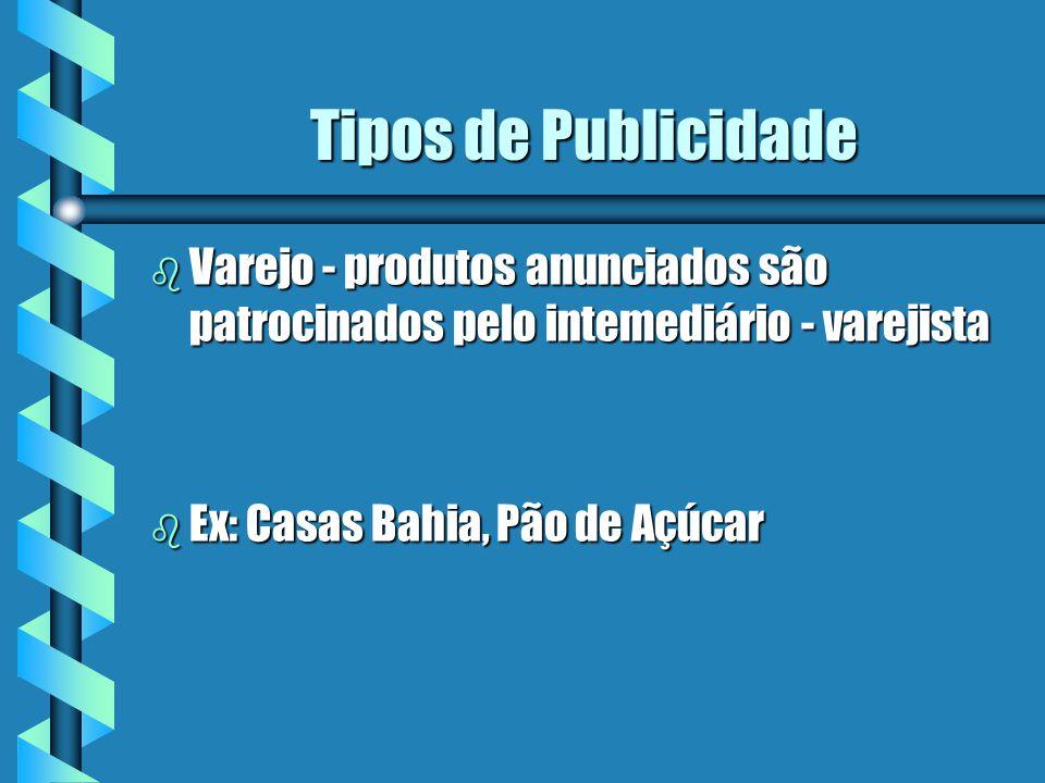Tipos de Publicidade b Varejo - produtos anunciados são patrocinados pelo intemediário - varejista b Ex: Casas Bahia, Pão de Açúcar