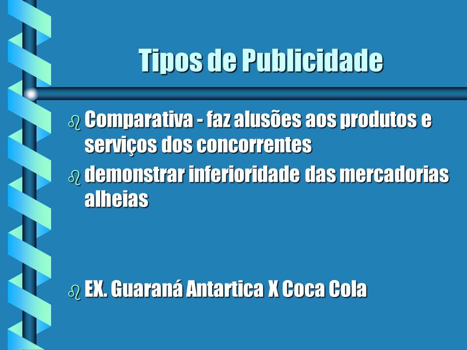 Tipos de Publicidade b Comparativa - faz alusões aos produtos e serviços dos concorrentes b demonstrar inferioridade das mercadorias alheias b EX.