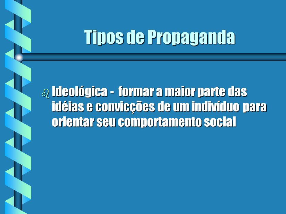 Tipos de Propaganda b Política - difundir ideologias políticas, programas e filosofias partidárias e atuações do governo