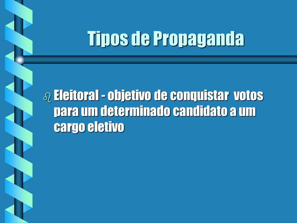 Tipos de Propaganda b Eleitoral - objetivo de conquistar votos para um determinado candidato a um cargo eletivo