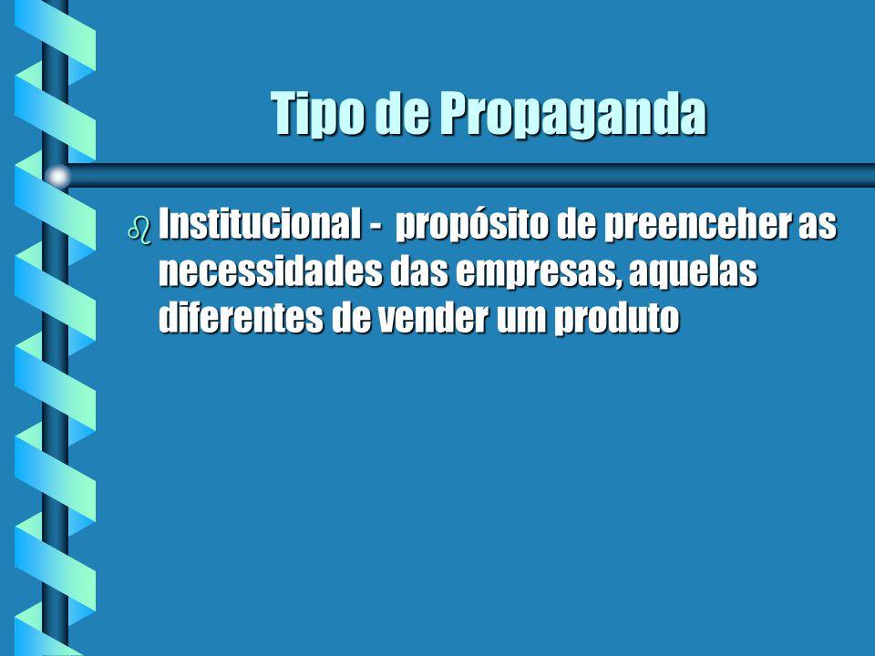 Tipo de Propaganda b Corporativa - construir uma opinião favorável sobre a companhia b destacar sua tecnologia, sua contribuição para o progresso social, sua tradição e experiência