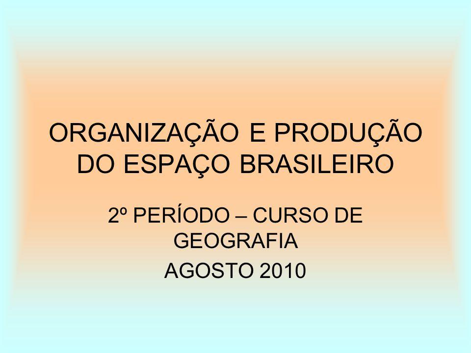 ORGANIZAÇÃO E PRODUÇÃO DO ESPAÇO BRASILEIRO 2º PERÍODO – CURSO DE GEOGRAFIA AGOSTO 2010