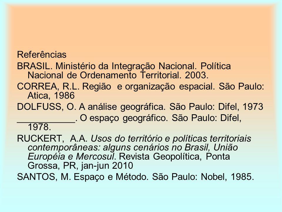 Referências BRASIL. Ministério da Integração Nacional. Política Nacional de Ordenamento Territorial. 2003. CORREA, R.L. Região e organização espacial.