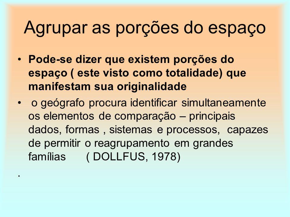 Agrupar as porções do espaço Pode-se dizer que existem porções do espaço ( este visto como totalidade) que manifestam sua originalidade o geógrafo pro