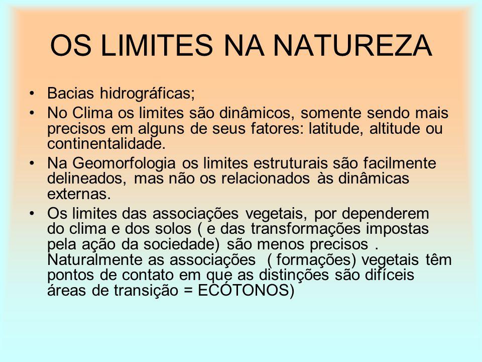 OS LIMITES NA NATUREZA Bacias hidrográficas; No Clima os limites são dinâmicos, somente sendo mais precisos em alguns de seus fatores: latitude, altit