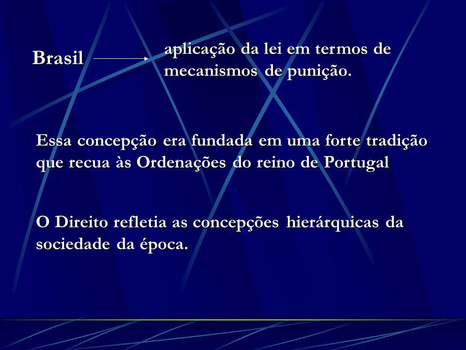 Brasil aplicação da lei em termos de mecanismos de punição. Essa concepção era fundada em uma forte tradição que recua às Ordenações do reino de Portu