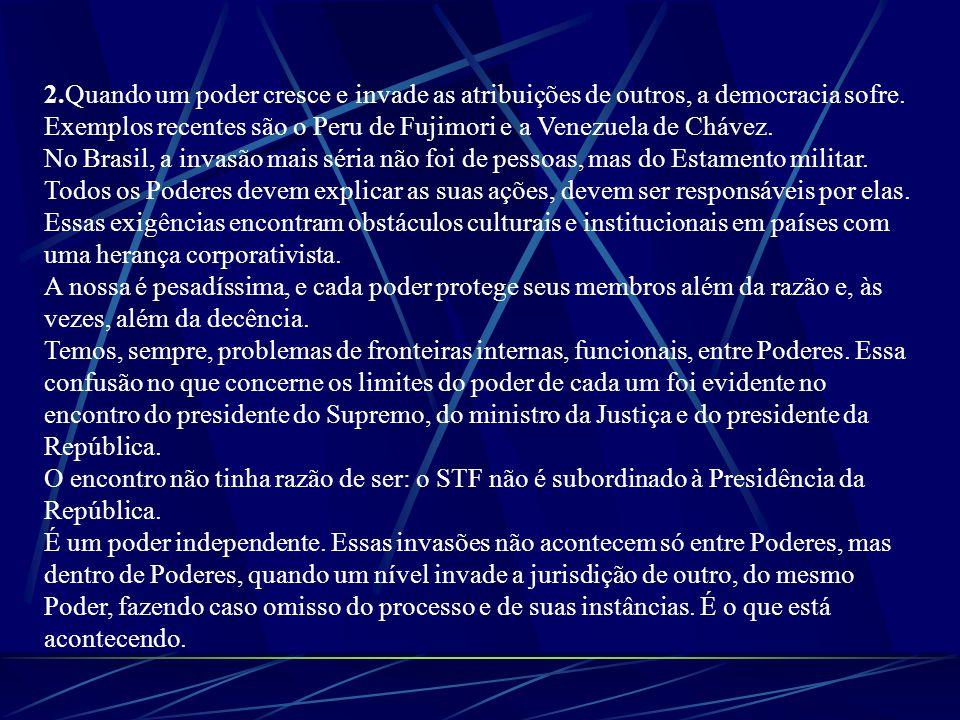 2.Quando um poder cresce e invade as atribuições de outros, a democracia sofre. Exemplos recentes são o Peru de Fujimori e a Venezuela de Chávez. No B