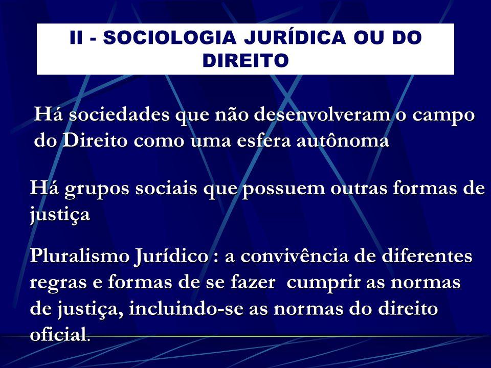II - SOCIOLOGIA JURÍDICA OU DO DIREITO Há grupos sociais que possuem outras formas de justiça Pluralismo Jurídico : a convivência de diferentes regras