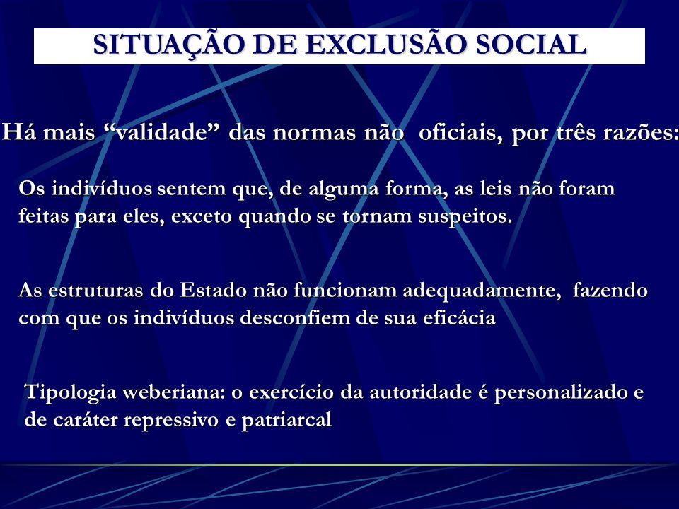 SITUAÇÃO DE EXCLUSÃO SOCIAL Há mais validade das normas não oficiais, por três razões: Os indivíduos sentem que, de alguma forma, as leis não foram fe