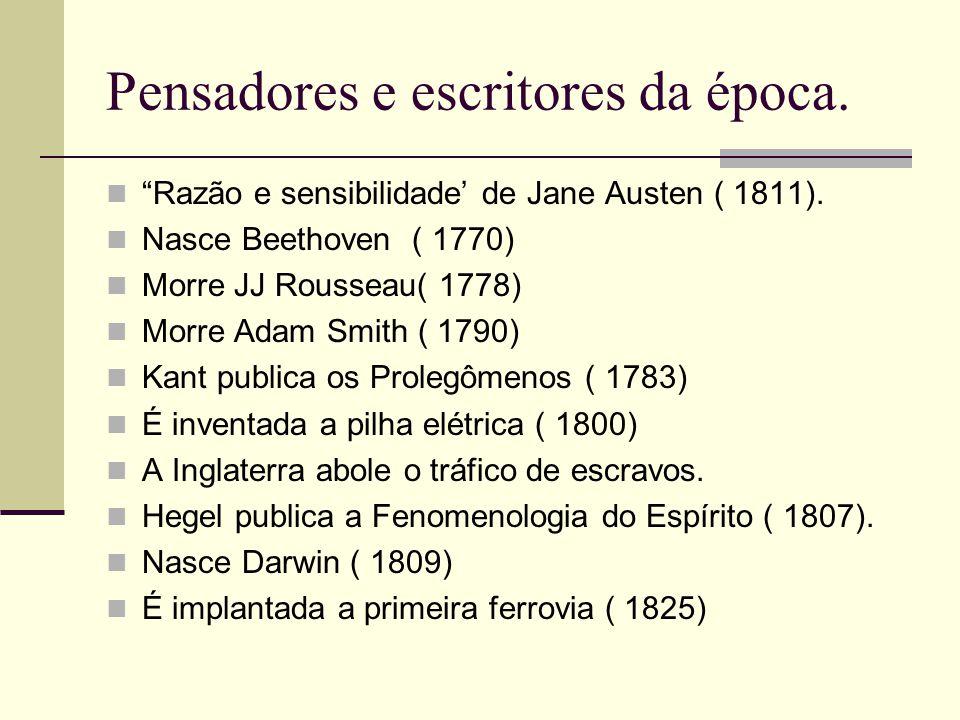 Pensadores e escritores da época.Razão e sensibilidade de Jane Austen ( 1811).