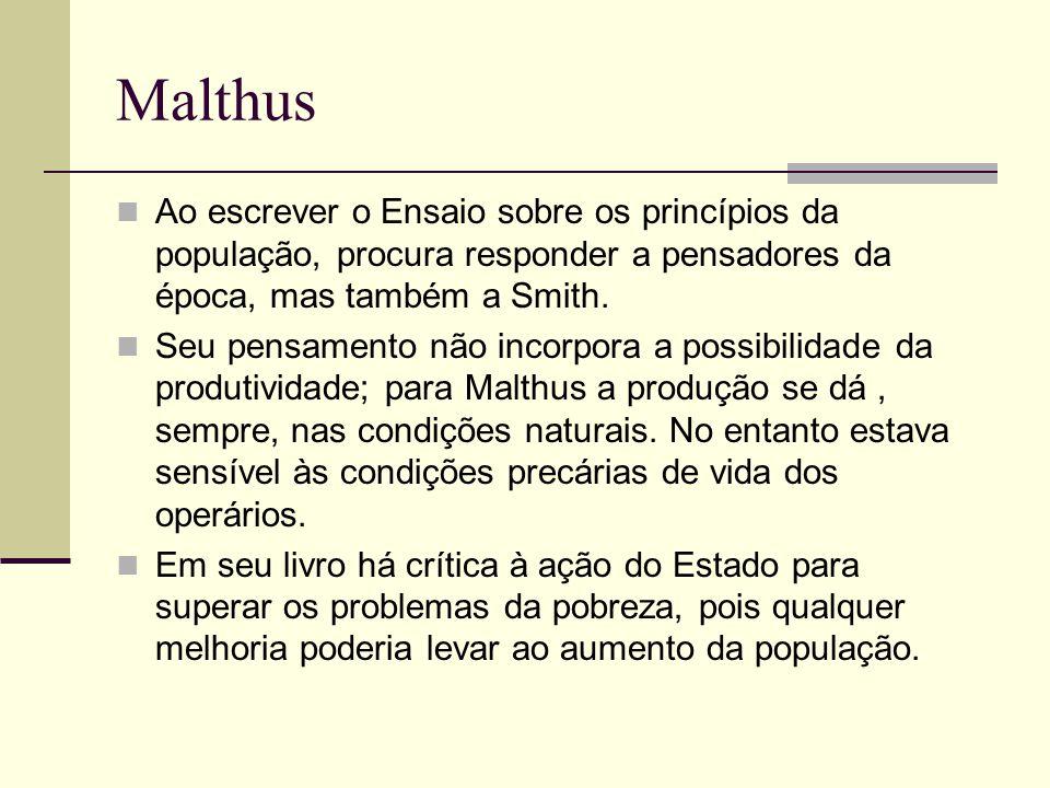 Malthus Ao escrever o Ensaio sobre os princípios da população, procura responder a pensadores da época, mas também a Smith.