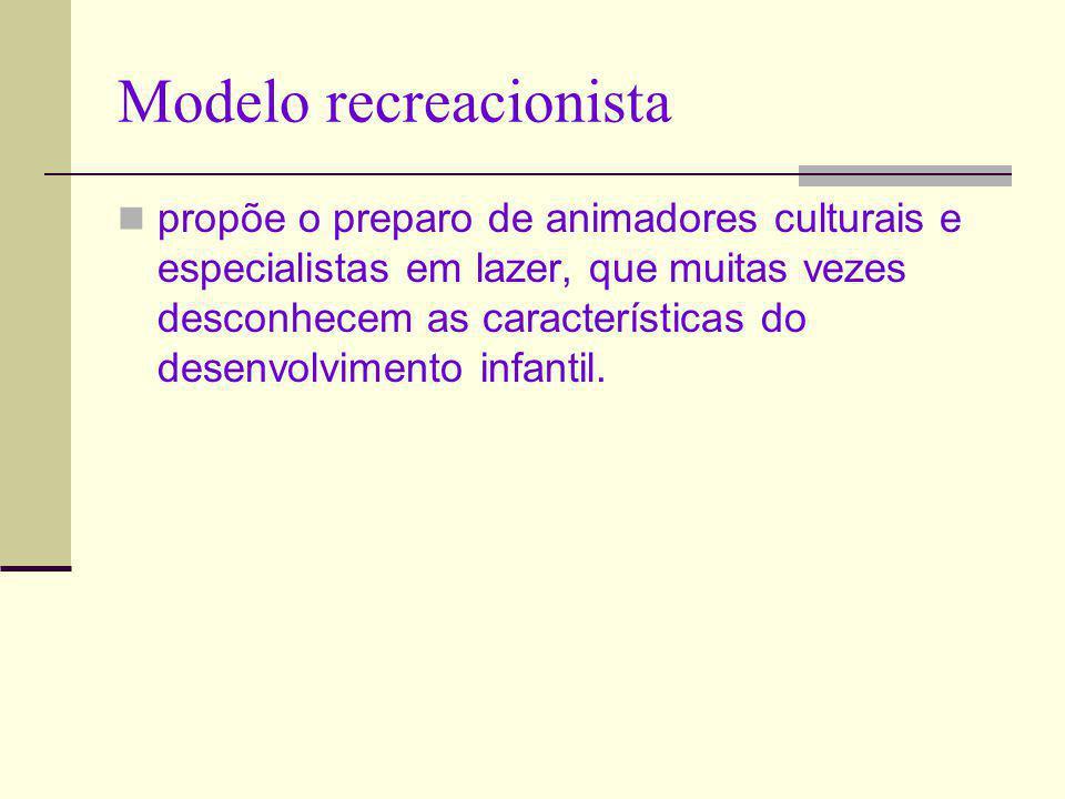 Modelo recreacionista propõe o preparo de animadores culturais e especialistas em lazer, que muitas vezes desconhecem as características do desenvolvi