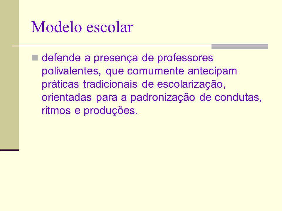 Modelo escolar defende a presença de professores polivalentes, que comumente antecipam práticas tradicionais de escolarização, orientadas para a padro