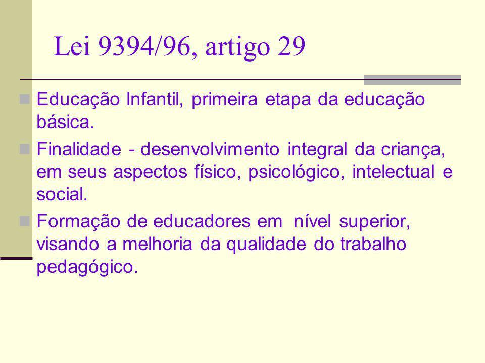 Lei 9394/96, artigo 29 Educação Infantil, primeira etapa da educação básica. Finalidade - desenvolvimento integral da criança, em seus aspectos físico