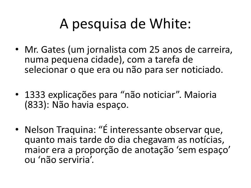 A pesquisa de White: Mr. Gates (um jornalista com 25 anos de carreira, numa pequena cidade), com a tarefa de selecionar o que era ou não para ser noti