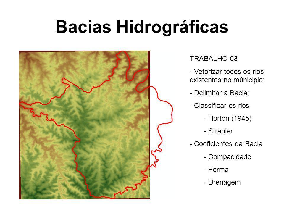 TRABALHO 03 - Vetorizar todos os rios existentes no múnicipio; - Delimitar a Bacia; - Classificar os rios - Horton (1945) - Strahler - Coeficientes da
