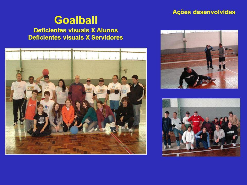 Goalball Deficientes visuais X Alunos Deficientes visuais X Servidores Ações desenvolvidas
