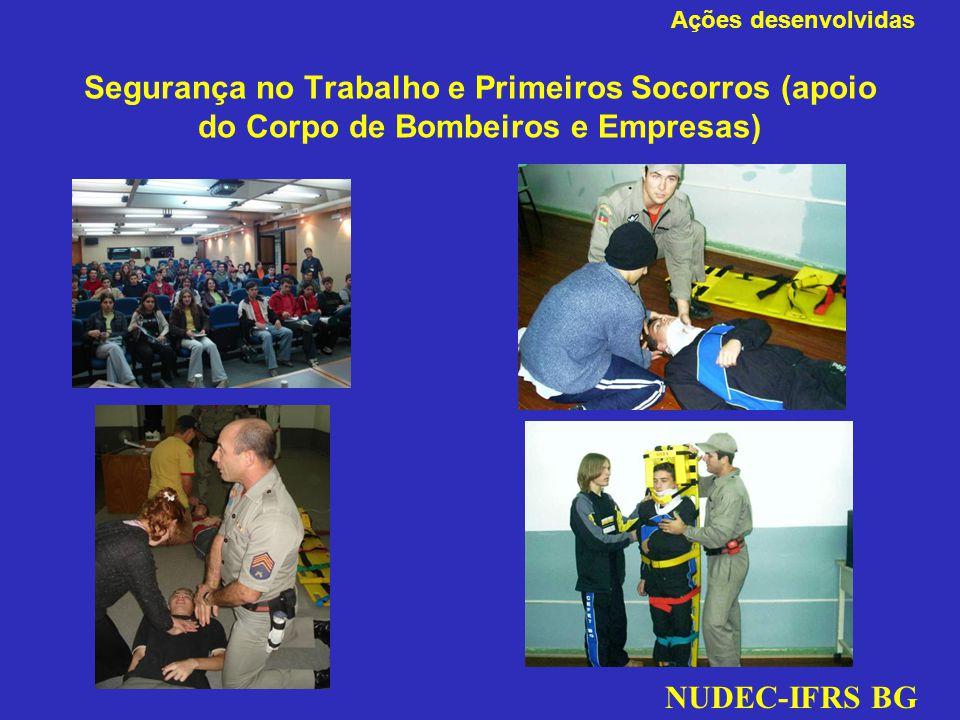 Segurança no Trabalho e Primeiros Socorros (apoio do Corpo de Bombeiros e Empresas) NUDEC-IFRS BG Ações desenvolvidas