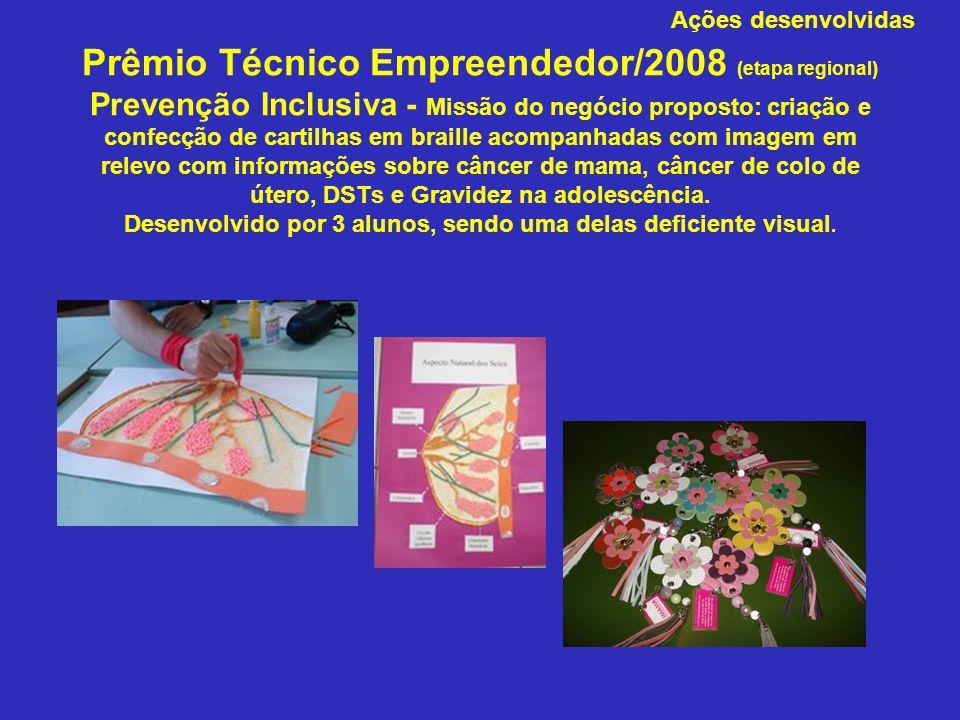 Prêmio Técnico Empreendedor/2008 (etapa regional) Prevenção Inclusiva - Missão do negócio proposto: criação e confecção de cartilhas em braille acompa