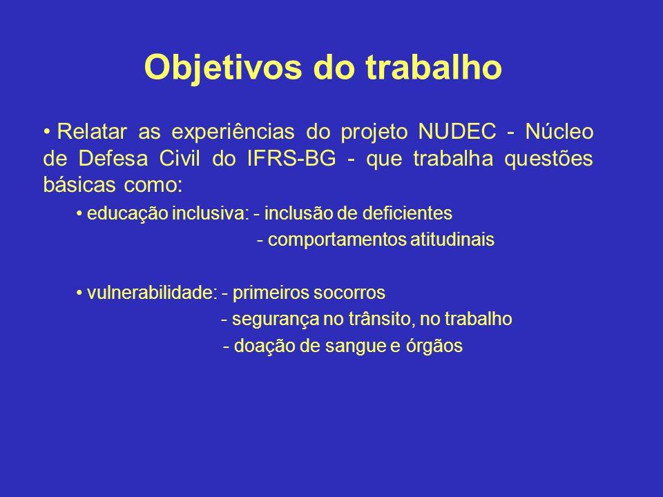 Relatar as experiências do projeto NUDEC - Núcleo de Defesa Civil do IFRS-BG - que trabalha questões básicas como: educação inclusiva: - inclusão de d