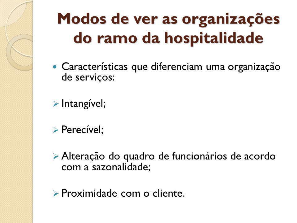 Modos de ver as organizações do ramo da hospitalidade Características que diferenciam uma organização de serviços: Intangível; Perecível; Alteração do quadro de funcionários de acordo com a sazonalidade; Proximidade com o cliente.