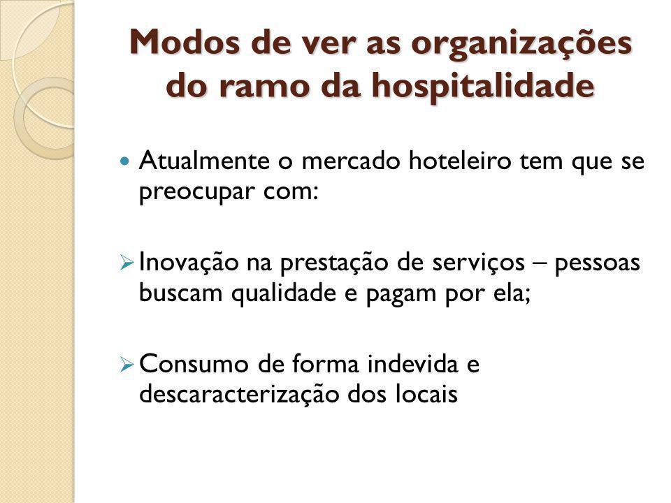 Modos de ver as organizações do ramo da hospitalidade Atualmente o mercado hoteleiro tem que se preocupar com: Inovação na prestação de serviços – pessoas buscam qualidade e pagam por ela; Consumo de forma indevida e descaracterização dos locais