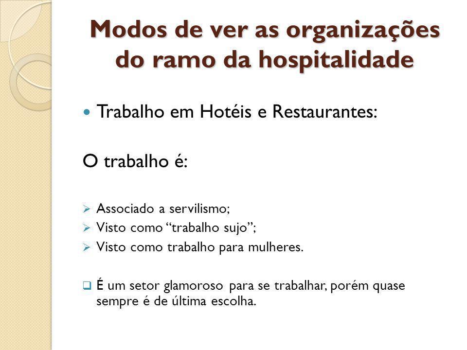 Modos de ver as organizações do ramo da hospitalidade Trabalho em Hotéis e Restaurantes: O trabalho é: Associado a servilismo; Visto como trabalho sujo; Visto como trabalho para mulheres.