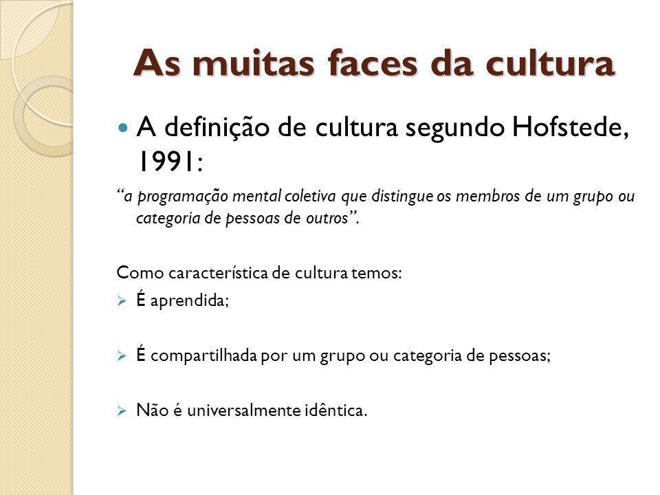 As muitas faces da cultura A definição de cultura segundo Hofstede, 1991: a programação mental coletiva que distingue os membros de um grupo ou categoria de pessoas de outros.