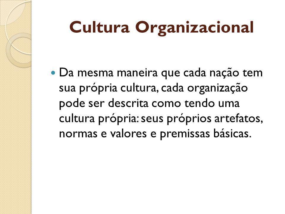 Cultura Organizacional Da mesma maneira que cada nação tem sua própria cultura, cada organização pode ser descrita como tendo uma cultura própria: seus próprios artefatos, normas e valores e premissas básicas.