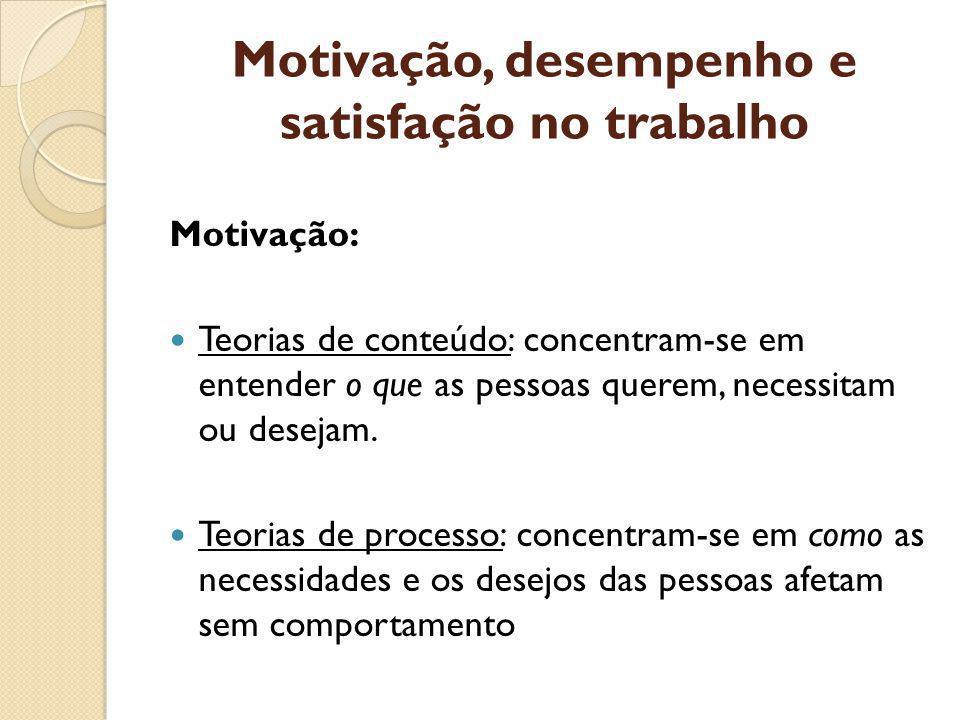 Motivação, desempenho e satisfação no trabalho Motivação: Teorias de conteúdo: concentram-se em entender o que as pessoas querem, necessitam ou desejam.