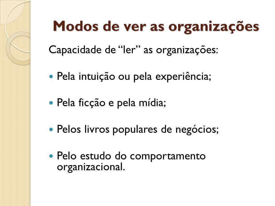 Modos de ver as organizações Capacidade de ler as organizações: Pela intuição ou pela experiência; Pela ficção e pela mídia; Pelos livros populares de negócios; Pelo estudo do comportamento organizacional.