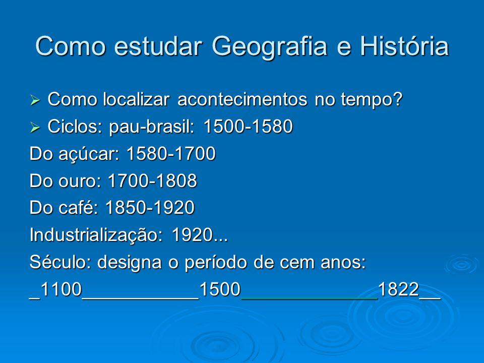 Como estudar Geografia e História Como localizar acontecimentos no tempo? Como localizar acontecimentos no tempo? Ciclos: pau-brasil: 1500-1580 Ciclos