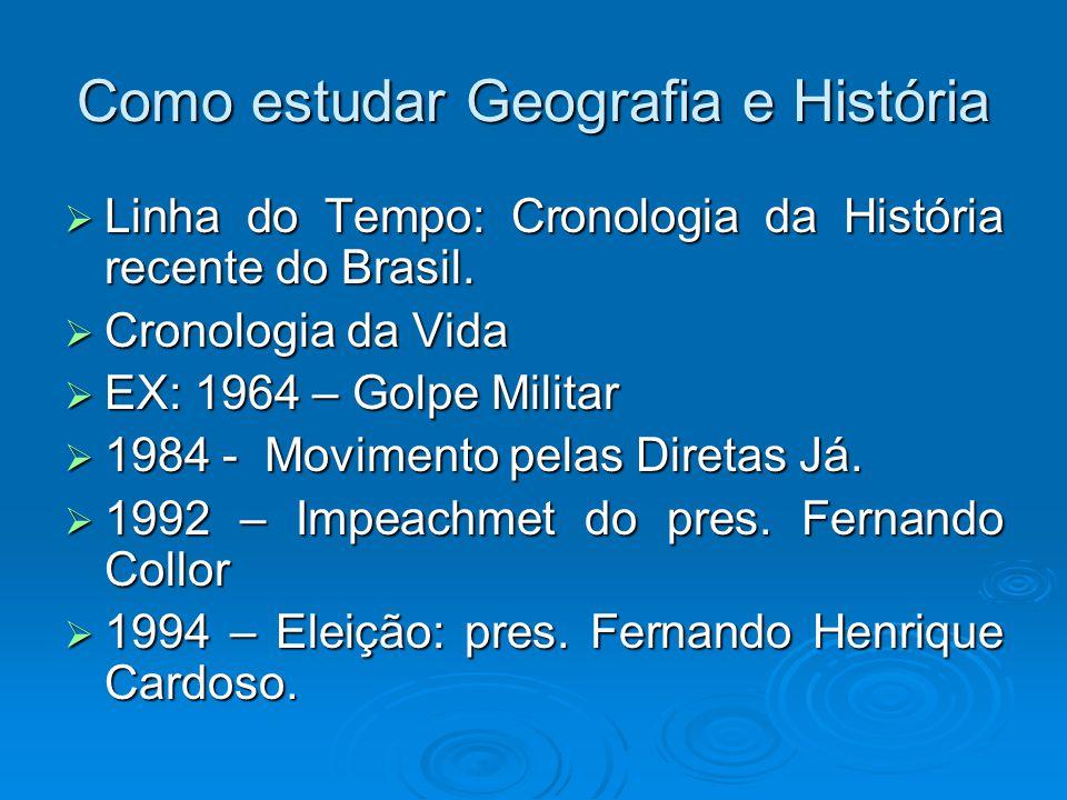 Como estudar Geografia e História Linha do Tempo: Cronologia da História recente do Brasil. Linha do Tempo: Cronologia da História recente do Brasil.