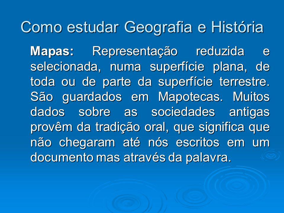 Como estudar Geografia e História Mapas: Representação reduzida e selecionada, numa superfície plana, de toda ou de parte da superfície terrestre. São