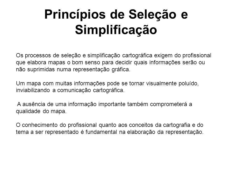 Princípios de Seleção e Simplificação Os processos de seleção e simplificação cartográfica exigem do profissional que elabora mapas o bom senso para d