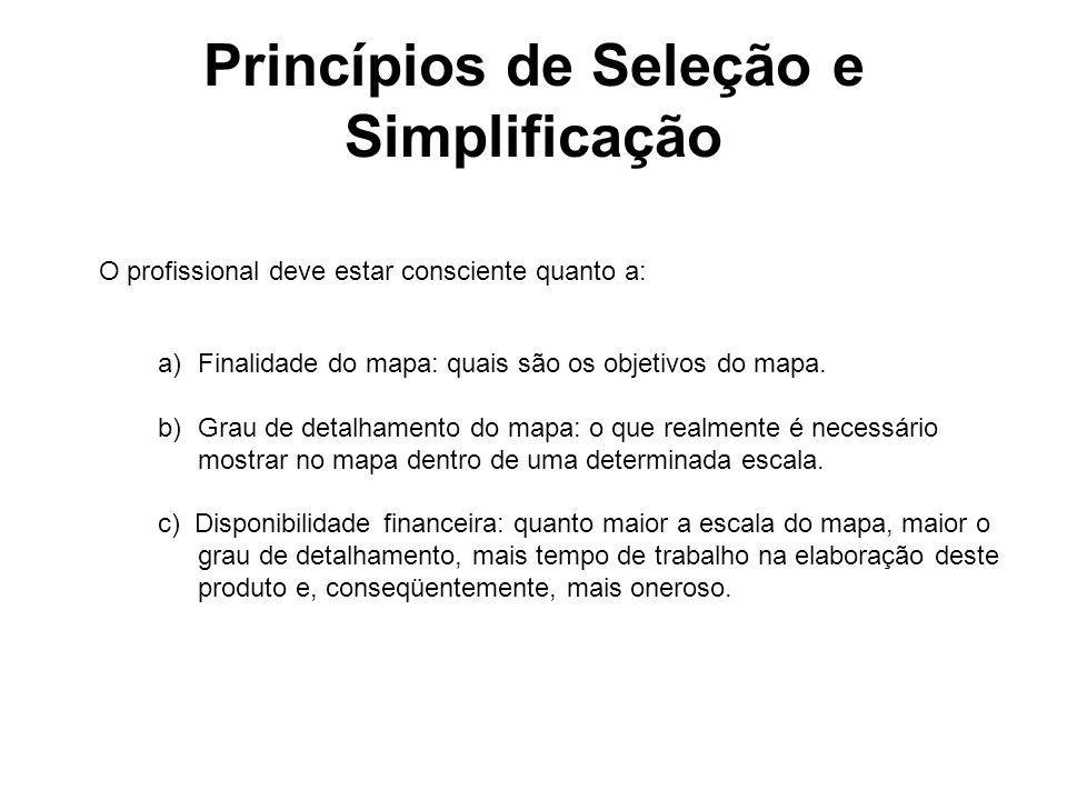 Princípios de Seleção e Simplificação O profissional deve estar consciente quanto a: a)Finalidade do mapa: quais são os objetivos do mapa. b)Grau de d