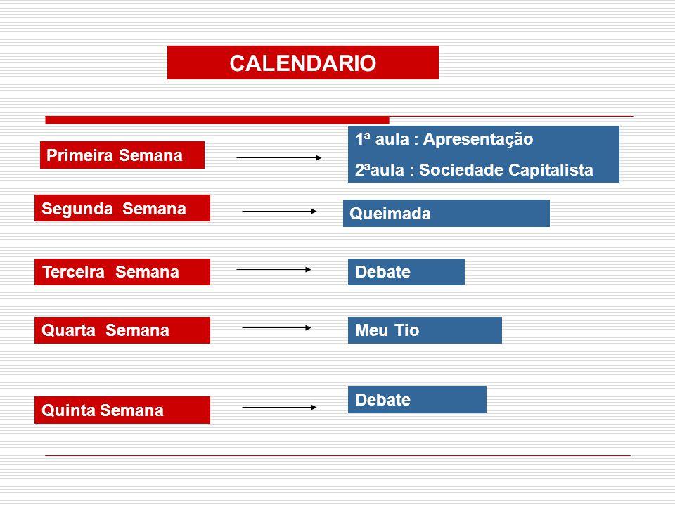 CALENDARIO Primeira Semana 1ª aula : Apresentação 2ªaula : Sociedade Capitalista Segunda Semana Queimada Terceira SemanaDebate Quarta SemanaMeu Tio Qu
