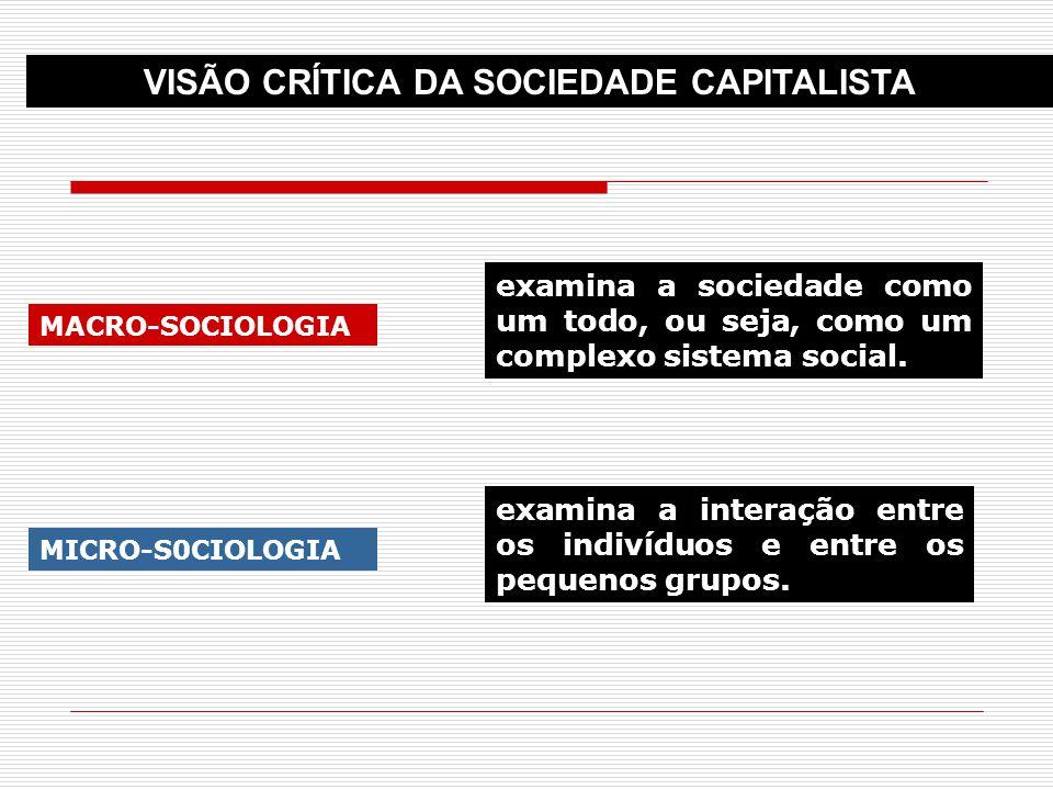 MACRO-SOCIOLOGIA MICRO-S0CIOLOGIA examina a sociedade como um todo, ou seja, como um complexo sistema social. examina a interação entre os indivíduos